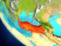 Vue satellite de la Turquie en rouge Photos stock