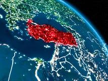Vue satellite de la Turquie la nuit Photos stock