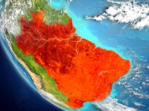 Vue satellite du Brésil en rouge Photographie stock libre de droits