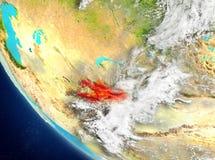 Vue satellite du Kirghizistan en rouge Photographie stock