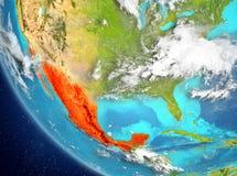 Vue satellite du Mexique en rouge Photos stock