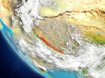 Vue satellite du Népal en rouge Images stock