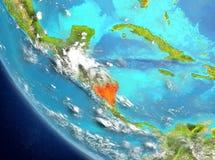 Vue satellite du Nicaragua en rouge Image libre de droits