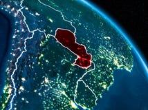 Vue satellite du Paraguay la nuit Image libre de droits