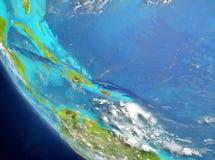 Vue satellite du Porto Rico en rouge Photo libre de droits