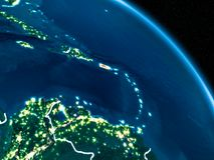 Vue satellite du Porto Rico la nuit Image stock