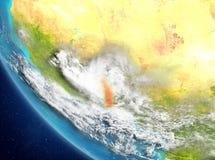 Vue satellite du Togo en rouge Photo stock