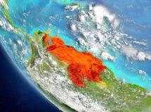 Vue satellite du Venezuela en rouge Photos stock