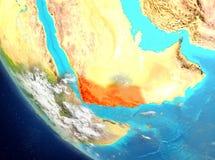 Vue satellite du Yémen en rouge Images stock