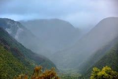 Vue scénique au-dessus de vallée brumeuse de Pololu photos stock