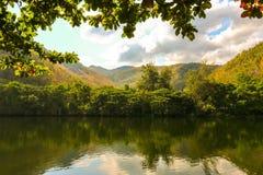 Vue scénique de barrage Tak, Thaïlande de Bhumibol de lac mae Ping Photographie stock libre de droits