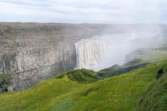 Vue scénique de cascade majestueuse de Dettifoss Photographie stock libre de droits