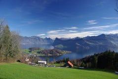 Vue scénique de lac Luzerne Images libres de droits