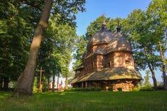 Vue scénique de mère en bois de catholique grec de l'église de Dieu, l'UNESCO, Chotyniec, Pologne photos stock