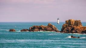 Vue scénique de Pointe du Grouin, littoral rocheux Brittany, France photo stock