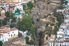 Vue scénique de pont et de canyon, Ronda, Malaga, Andalousie, Espagne Photo stock