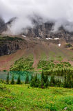 Vue scénique de pré et de lac alpins de montagne Image stock