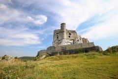 Vue scénique des ruines de château dans le village de Mirow poland Images libres de droits