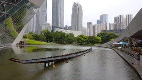 Vue scénique du centre ville du théatre de l'opéra de Guangzhou banque de vidéos