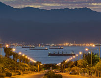 Vue scénique sur le golfe d'Aqaba, la Mer Rouge Image libre de droits