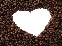 Vue sous forme de coeur des grains de café Photo libre de droits