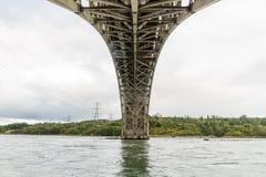 Vue sous le pont de Britannia de dessous image libre de droits