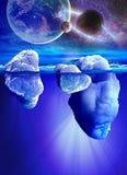Vue sous-marine d'iceberg avec la belle mer transparente et de planètes sur le fond illustration libre de droits