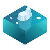 Vue sous-marine isométrique d'iceberg avec la belle mer transparente sur le fond Illustration plate de vecteur illustration de vecteur