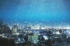 Vue sous-marine sur la ville Photo libre de droits