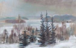 Lac d'oof de vue pendant l'hiver Illustration Libre de Droits