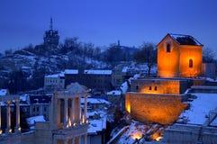 Vue spectaculaire d'hiver et maison allumée de renaissance Image stock