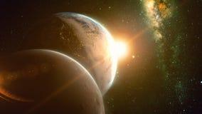 Vue spectaculaire de lever de soleil au-dessus de la terre et de lune de planète illustration de vecteur