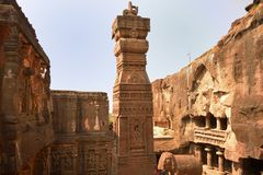 Vue spectaculaire de temple de Kailasha, Ellora Caves photos stock