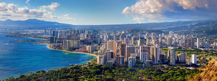 Vue spectaculaire de ville de Honolulu, Oahu Photos stock