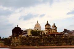 Vue stupéfiante de la ville coloniale de Carthagène en Colombie images libres de droits