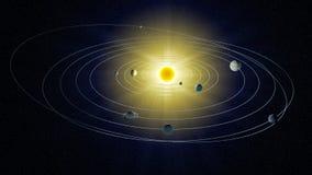 Vue stylisée du système solaire. illustration stock