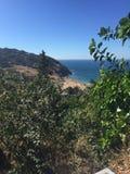 Vue succulente de la plage de Tanger Photos libres de droits