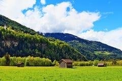 Vue Suisse de ressort de montagnes d'Alpes Images stock