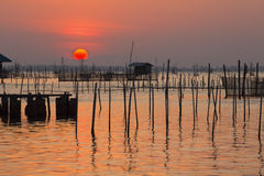 Vue sunset. Beautiful sunset at Songkhla lake,Thailand royalty free stock photos