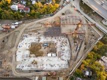 Vue supérieure aérienne d'un bâtiment d'élite au centre de la ville W photos stock