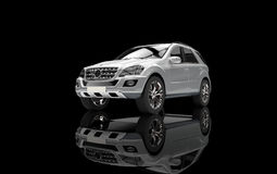 Vue supérieure argentée de SUV Photographie stock