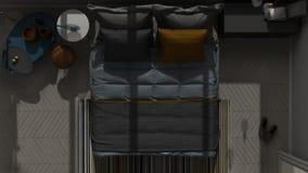 Vue supérieure colorée de chambre à coucher moderne, plancher de parquet en arête de poisson, proche illustration stock