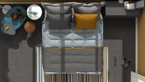 Vue supérieure colorée de chambre à coucher moderne, plancher de parquet en arête de poisson, voûte illustration libre de droits