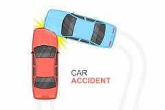 Vue supérieure d'accident de voiture Photo libre de droits
