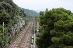 Vue supérieure d'assiette de la route ferroviaire photographie stock libre de droits