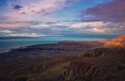 Vue supérieure d'EL Calafate Nuage rêveur magique de paysage de nature de coucher du soleil de soirée sur le ciel dans le Patagon photo libre de droits