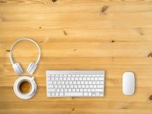 Vue supérieure d'espace de travail avec le copyspace Images libres de droits