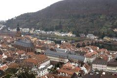 Vue supérieure d'Heidelberg du château, Allemagne photos stock