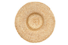 Vue supérieure d'isolement par chapeau de paille image stock