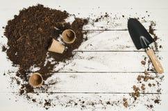 Vue supérieure d'outils de jardinage sur le fond en bois blanc de planches Photos libres de droits